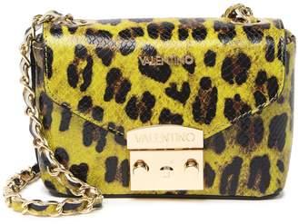 Mario Valentino Valentino By Paulette Embossed Leopard Print Leather Crossbody Bag