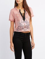 Charlotte Russe Graphic Faux Suede Lace-Up Top