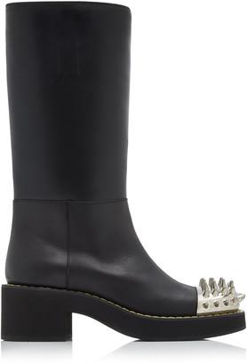 Miu Miu Spike-Embellished Knee-High Leather Boots