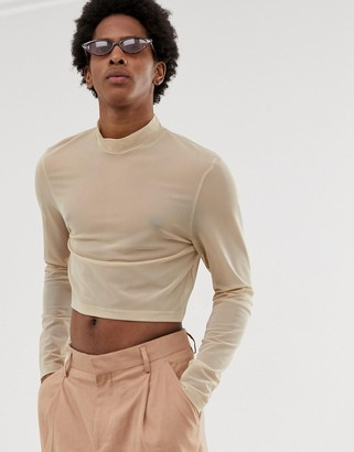 Asos Design DESIGN skinny cropped long sleeve t-shirt with turtle neck in fine mesh-Beige