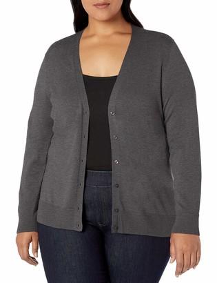 Amazon Essentials Plus Size Lightweight Vee Cardigan Sweater Charcoal Heather 3X