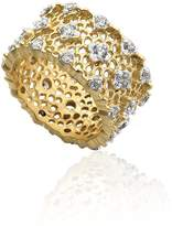 Riccova Riccova Retro 14k Gold-Plated CZ In Rhodium Studded Lace Ring Size 7