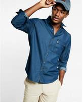 Express moto indigo denim shirt