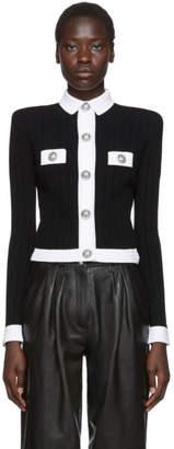Balmain Black and White Cropped Rib Knit Cardigan