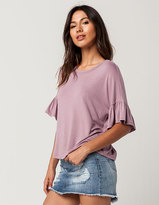 Full Tilt Ruffle Sleeve Womens Top