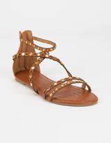 Qupid Studded Womens Camel Gladiator Sandals