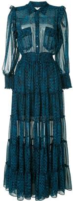 MISA Snake Ruffled Shirt Dress