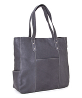 Le Donne Gray Large Pocket Leather Tote