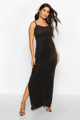 boohoo Maternity Shimmer Side Split Maxi Dress