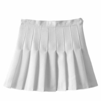 OwlFay Women Solid Slim Fit A-line High Waist Pleated Mini Skirt Flared Skater Tennis Skirts Teens School Uniform Summer Causal Dress Skorts with Inner Shorts Ivory S