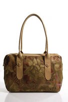Sondra Roberts Beige Leather Abstract Print Double Strap Shoulder Bag