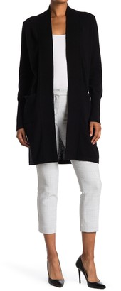 Magaschoni Ribbed Open Front Cashmere Long Cardigan