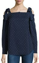 Saloni Maddie Cold-Shoulder Clip Dot Top