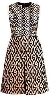 Gucci Women's Jacquard Stretch Wool & Silk Logo Sleeveless A-Line Dress