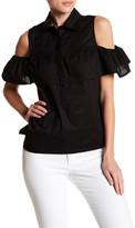 Debbie Shuchat Cold Shoulder Button Front Blouse