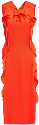 Carven Ruffled Faille Midi Dress