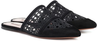 Alaia Laser-cut mesh and suede slippers