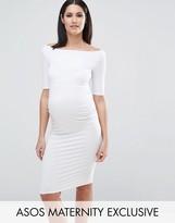 Asos Bardot Dress With Half Sleeve