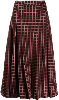 Marni Checkered Pleated Midi-Skirt