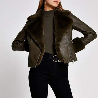 River Island Womens Khaki faux fur cuff quilted biker jacket