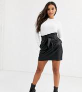 New Look Petite Petite leather look paper bag waist skirt