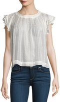 Romeo & Juliet Couture Cap-Sleeve Metallic-Stripe Chiffon Blouse, Ivory