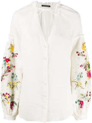 Wandering Floral Embroidered Blouse