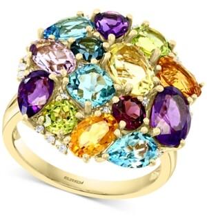 Effy Multi-Gemstone (7-1/2 ct. t.w.) & Diamond (1/10 ct. t.w.) Cluster Ring in 14k Gold