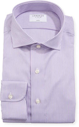Lorenzo Uomo Men's Regular-Finish Striped Cotton Dress Shirt, Purple