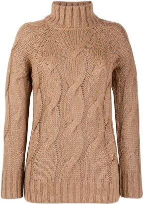 Peserico High Neck Cable Knit Jumper