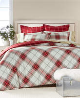 Martha Stewart Collection Deer Pond 100% Cotton Reversible Plaid Flannel Full/Queen Duvet Cover, Created for Macy's