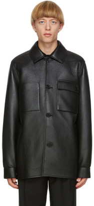 Acne Studios Black Leather Chore Jacket