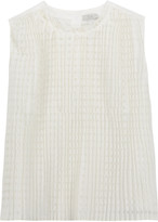 Clu Pleated checked cotton and silk-blend top