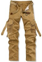 Feinste Men's Casual Multi Pocket Cargo Pants (KHAKI,36)
