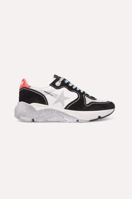 Golden Goose Running Sole Distressed Glittered Leather, Suede And Mesh Sneakers - White