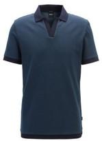 Boss Cotton-jacquard polo shirt with Johnny collar
