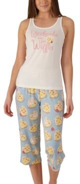 Munki Munki Nite Nite Plus Size Waffles Tank & Capri Pajama Set, Online Only
