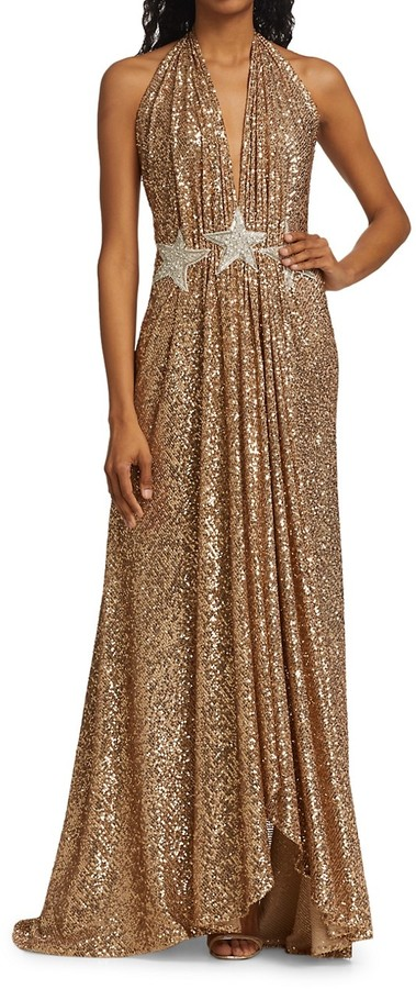 Thumbnail for your product : Naeem Khan Star Sequin Halter Gown