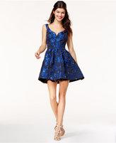 B. Darlin Juniors' Brocade Fit and Flare Dress