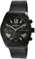 Peugeot Mens Black Stainless Steel Mesh Strap Watch 1045BK