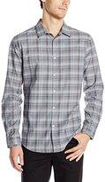 Calvin Klein Men's Long Sleeve Yarn Dye Speck Jaspe Plaid Woven Shirt