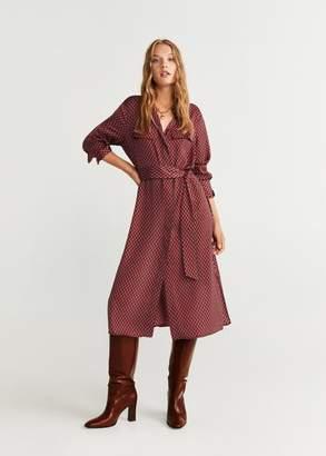 MANGO Printed shirt dress red - 4 - Women