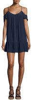 Joie Stellara Cold-Shoulder Flounce Silk Mini Dress, Blue