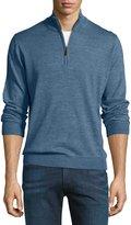 Neiman Marcus Wool-Blend Quarter-Zip Mock-Neck Sweater, Ocean