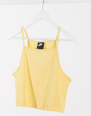 Nike high neck singlet crop top in Bright yellow