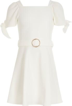 River Island Girls White tie sleeve belted skater dress