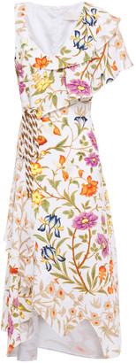 Peter Pilotto Asymmetric Ruffle-trimmed Floral-print Cloque Midi Dress