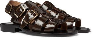Dries Van Noten Woven Patent-Leather Sandals
