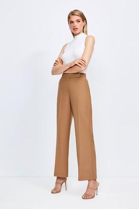 Karen Millen Polished Stretch Wool Blend Wide Leg Trouser