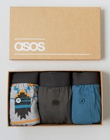 Asos Jersey Boxers In Gift Box With Geo-Tribal Print 3 Pack